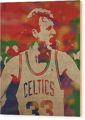 Larry Bird Watercolor Portrait Wood Print