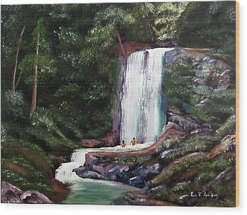 Las Marias Puerto Rico Waterfall Wood Print by Luis F Rodriguez