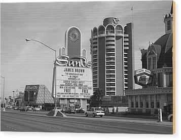 Wood Print featuring the photograph Las Vegas 1994 #1 Bw by Frank Romeo