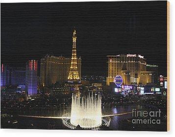 Las Vegas By Night Wood Print by Wilko Van de Kamp