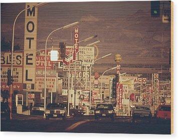 Las Vegas Commercial Street Wood Print by Everett