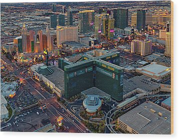 Wood Print featuring the photograph Las Vegas Nv Strip Aerial by Susan Candelario