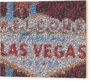 Las Vegas Sign Poker Chip Mosaic Wood Print by Paul Van Scott