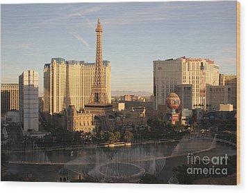 Wood Print featuring the photograph Las Vegas Skyline by Wilko Van de Kamp