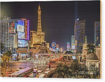 Las Vegas Strip Paris Wood Print