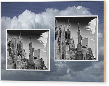 Wood Print featuring the painting Las Vegas,new York by Athala Carole Bruckner