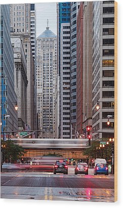 Lasalle Street Canyon With Chicago Board Of Trade Building At The South Side II - Chicago Illinois Wood Print by Silvio Ligutti