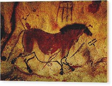 Lascaux Horse Wood Print by Asok Mukhopadhyay