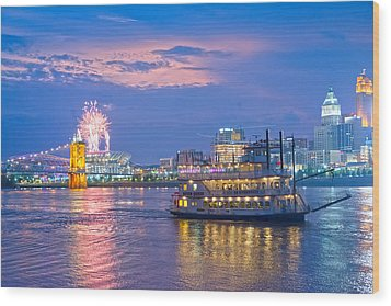 Laser Show Over Paul Brown Stadium  Wood Print