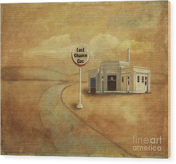 Wood Print featuring the digital art Last Chance Gas by Lois Bryan