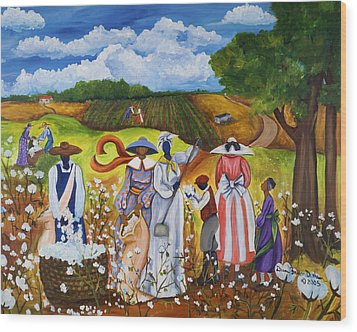 Last Cotton Field Wood Print by Diane Britton Dunham