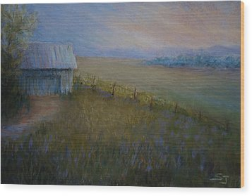 Last Farm Light Wood Print by Susan Jenkins