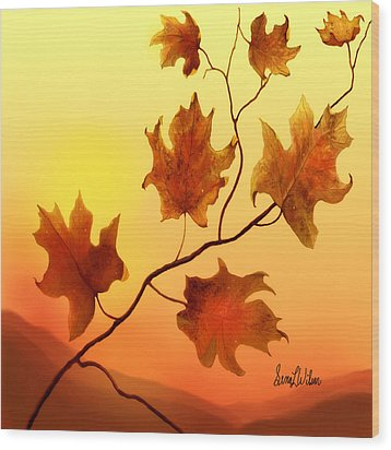 Wood Print featuring the painting Last Leaves by Sena Wilson