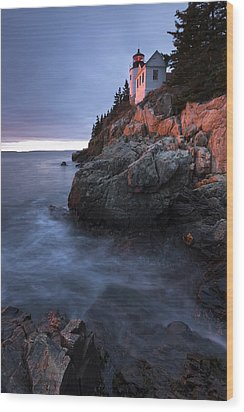 Last Light At Bass Harbor Wood Print