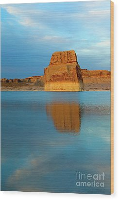 Wood Print featuring the photograph Last Light At Lone Rock by Mike Dawson
