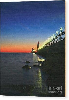Last Light Grand Haven Michigan Wood Print by Robert Pearson