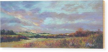 Last Light Over The Hills. France Wood Print by Rae Andrews