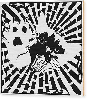 Last Maze The Mouse Sees Wood Print by Yonatan Frimer Maze Artist