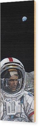 Last Men- Gene Cernan Wood Print by Simon Kregar