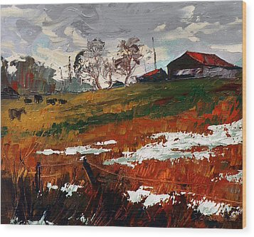 Last Patches Of Snow Wood Print by Sergey Zhiboedov