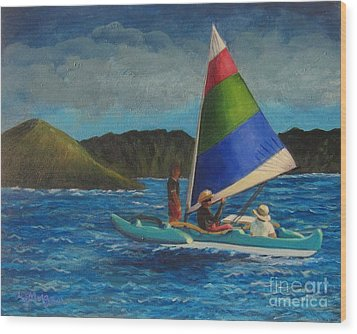 Last Sail Before The Storm Wood Print by Laurie Morgan