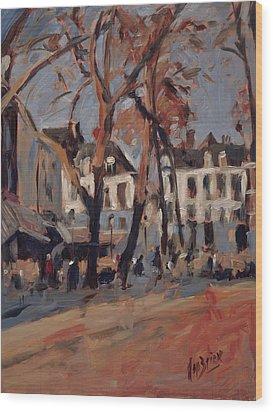 Last Sunbeams Our Lady Square Maastricht Wood Print by Nop Briex