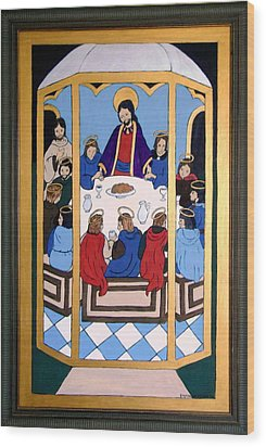 Wood Print featuring the painting Last Supper by Stephanie Moore