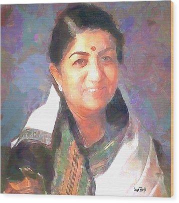 Lata Mangeshkar  Wood Print