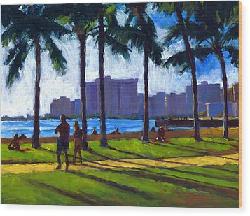 Late Afternoon - Queen's Surf Wood Print by Douglas Simonson
