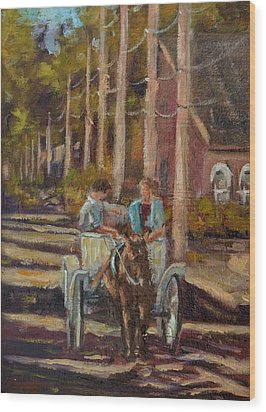 Late Afternoon Carriage Ride Wood Print by Charles Schaefer