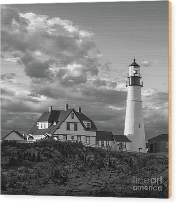 Late Afternoon Clouds, Portland Head Light  -98461-sq Wood Print