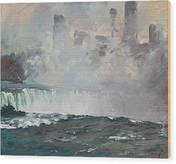 Late Afternoon In Niagara Falls Wood Print by Ylli Haruni