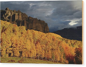 Wood Print featuring the photograph Late Afternoon Light On The Cliffs Near Silver Jack Reservoir In Autumn by Jetson Nguyen
