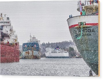 Late Harbour Snow Wood Print