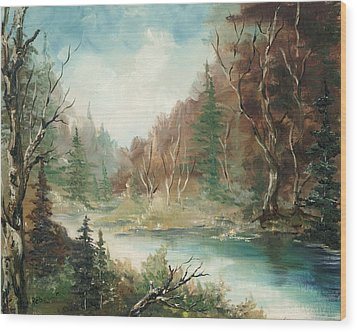 Wood Print featuring the painting Late In The Season by Rebecca Kimbel