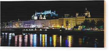 Wood Print featuring the photograph Late Night Stroll In Salzburg by David Morefield