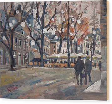 Late November At The Our Lady Square Maastricht Wood Print by Nop Briex