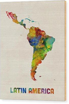 Wood Print featuring the digital art Latin America Watercolor Map by Michael Tompsett