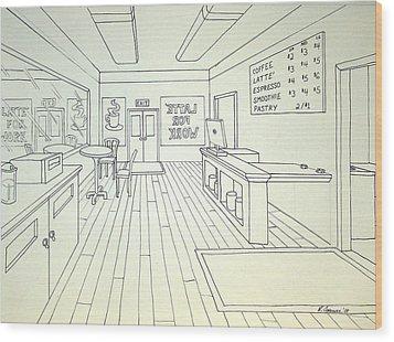 Latte For Work Wood Print by Heidi Copeman