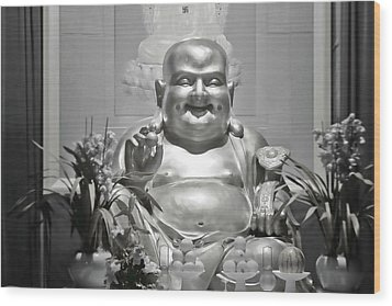 Laughing Buddha - A Symbol Of Joy And Wealth Wood Print by Christine Till