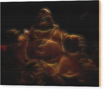 Laughing Buddha Light Wood Print by William Horden