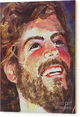 Laughing Jesus Wood Print by Reveille Kennedy