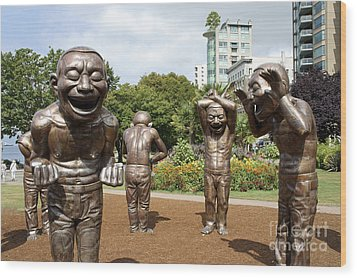Laughing Men Sculptures Vancouver Canada Wood Print