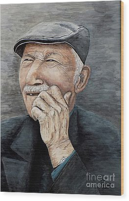 Laughing Old Man Wood Print by Judy Kirouac