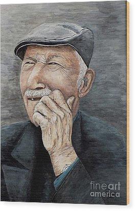 Laughing Old Man Wood Print