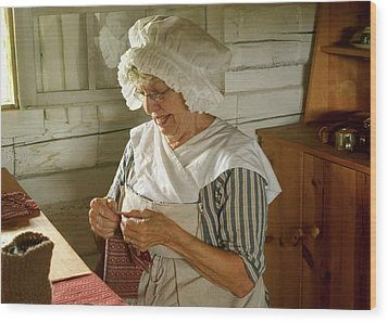 Wood Print featuring the photograph Laundress - Mending by Nikolyn McDonald