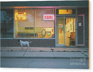 Laundromat Open Wood Print