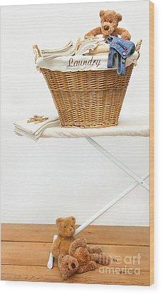 Laundry Basket With Teddy Bears On Floor Wood Print by Sandra Cunningham