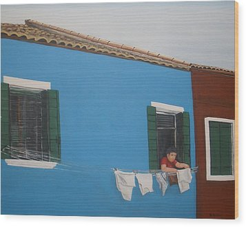 Wood Print featuring the painting Laundry Day by Betty-Anne McDonald