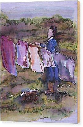 Laundry Day Wood Print by Carolyn Doe